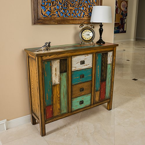 Great Deal Furniture | Delaney | Antique Distressed Wood Storage Cabinet | in Multicolor