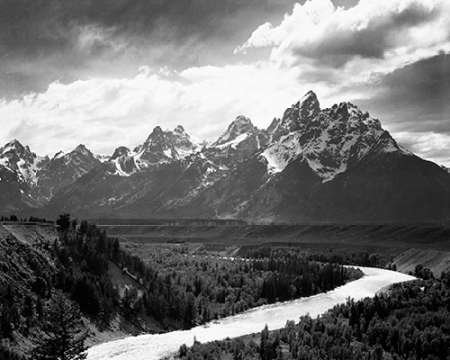 View from River Valley Towards Snow Covered Mountains, River in Foreground, Grand Teton National Par by Ansel Adams 18