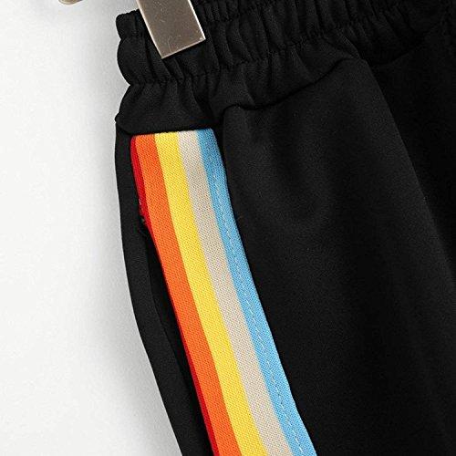 Pantaloncini Vita Accogliente Nero Nahen Giovane Estivi Eleganti Moda Donna Shorts Rainbow Ragazze Modern Pantaloni Baggy Corti Taille Casual Strappy Sportivi Sottile Stile Elastica Colors TrwqXT