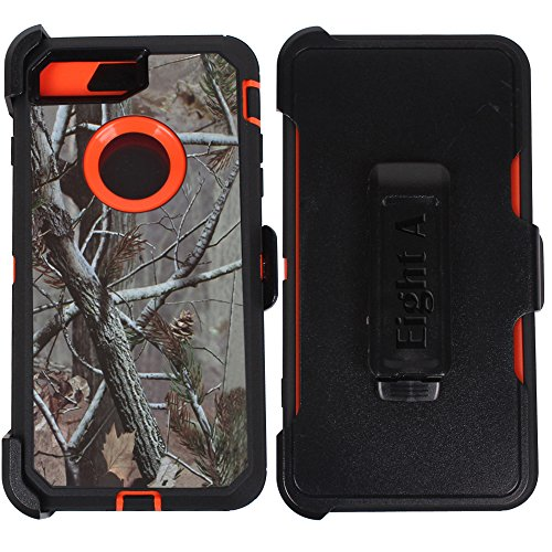 Heavy Duty Impact Rugged with Built-in Screen Protector Camouflage Protective Case Cover with Clip for Apple iPhone 7 Plus (Orange-Tree-Camo)
