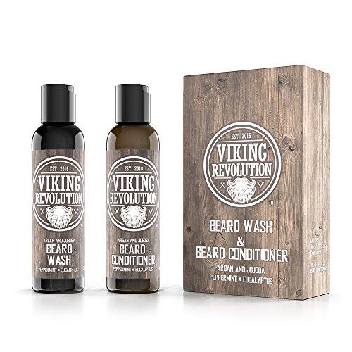 Best Deal Beard Wash & Beard Conditioner Set w/Argan & Jojoba Oils - Softens & Strengthens - Natural Peppermint and Eucalyptus Scent - Beard Shampoo w/Beard Oil (5 oz) by Viking Revolution (Image #1)
