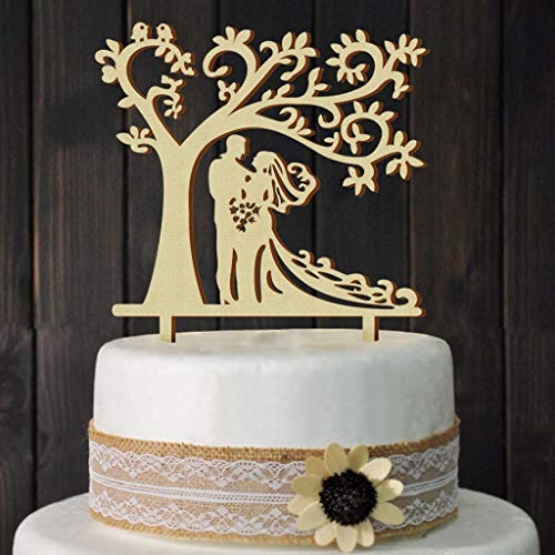 Wedding Cake Toppers Bride and Groom Silhouette Tree Wedding Cake Topper Rustic Wood by juyue (Image #1)