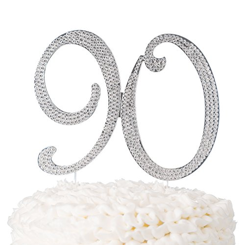 Ella Celebration 90 Cake Topper for 90th Birthday Number Party Supplies & Decoration Ideas -