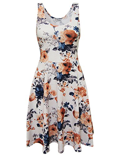 Tom's Ware Womens Casual Fit and Flare Floral Sleeveless Dress TWCWD054-WHITEORANGE-US XL
