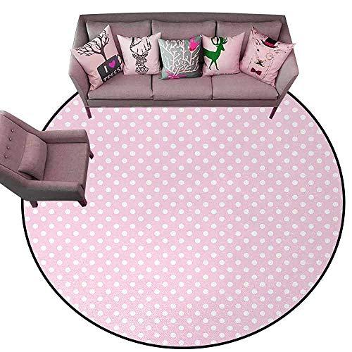 Floor Mats for Living Room Polka Dots,Tiny Little Retro Polka Dots Vintage Style Bridal Nursery Kids Room Pattern,Pink White Diameter 66