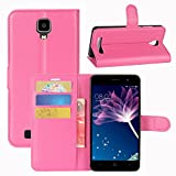 Doogee X10 Case, Fettion Premium PU Leather Wallet Flip Phone Protective Case Cover with Card Slots and Magnetic Closure for Doogee X10 Smartphone (Wallet - Rose)