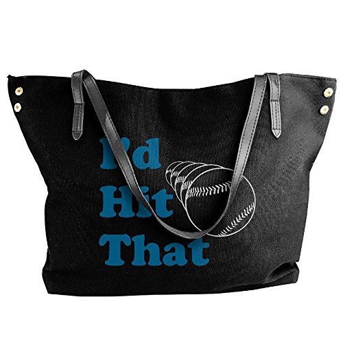 Handbag Hobo Tote Baseball I'd Hit Large Canvas Handbag Bag Tote Shoulder Women's Black That FpHaw