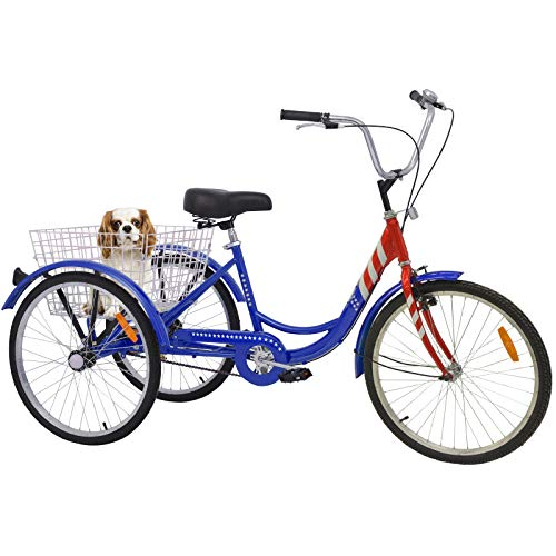 - Barbella 16 Inch Single Speed Youngster Tricycle Three-Wheeled Bicycle with Metal Wire Shopping Basket Beach Cruiser for Recreation, Shopping,Exercise Men's Women's Bike (USA Flag)