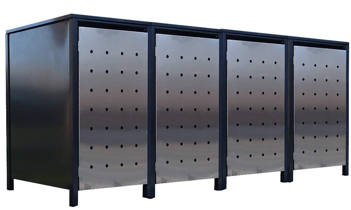 4X Premium 240 Liter Tailor M/ülltonnenboxen mit Stanzung 1 Farbe Anthrazit//T/ür-Edelstahl//Versch/önern Sie Ihre unansehnliche M/ülltonnen in Ihrem Hof und Garten!
