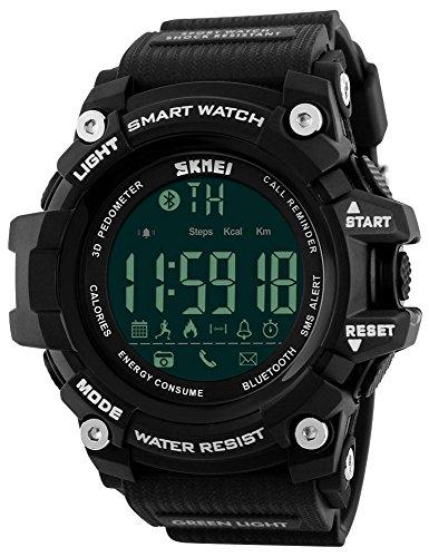 Fanmis Men's Sports Watch Multifunction Waterproof Alarm Led Analog Digital Watches (Black)