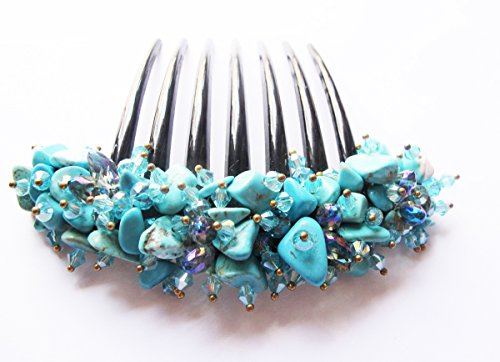 French twist hair comb Ornamented along the top of the heading with Stone Turquoise by It For U