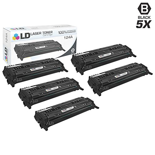 LD Remanufactured Replacements for Hewlett Packard 124A (Q6000A) Pack of 5 Black Toner Cartridges for Color LaserJet 1600, 2600n, 2605dn, 2605dtn, CM1015mfp and CM1017mfp