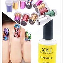 Warm Girl 12pc Nail Art Transfer Foil Nail Art Sticker DIY Nail Art Decorations & 1pc Star Glue Set by Warm Girl