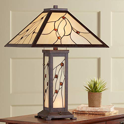 Bexley Mission Table Lamp with Nightlight Classic Bronze Stained Glass for Living Room Family Bedroom Bedside - Robert Louis Tiffany