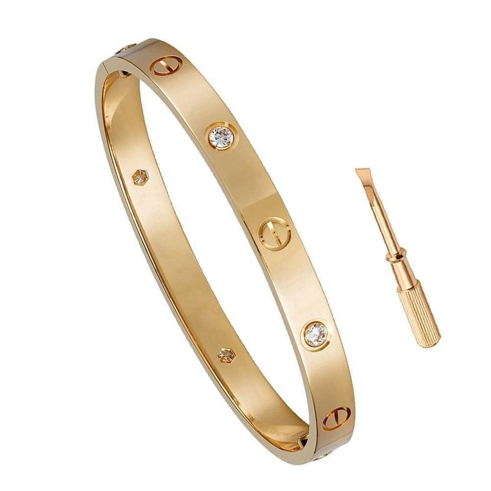 Z.RACLE Birthday Gift for Him Love Bracelet- Titanium Steel Screw Hinged Cuff Bangle Bracelet Rose Gold w/CZ Stone 7.5IN