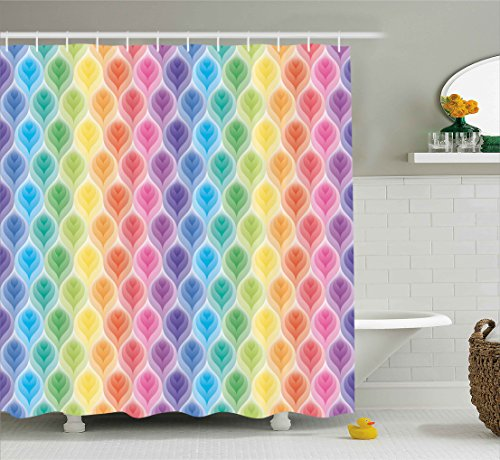 Trippy Decor Shower Curtain by Ambesonne, Rainbow Colors Abstract Gradient Toned Leaf Pattern Digital Soft Pastel Design, Fabric Bathroom Decor Set with Hooks, 75 Inches Long, Multi ()