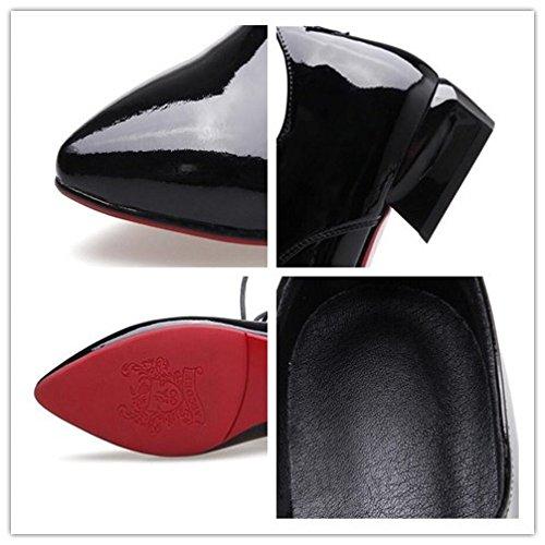Chaussures Talons MUYII Cuir Red Pointues Chaussures Plates Femme à Verni Bas En à Cuir Talons En Pour z5PznqxwrY