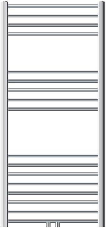 ECD Germany Radiador Toallero de Baño - 600 x 1200 mm - Cromo - Curvo - con Conexión Central - Calefactor Mural Tipo Escalera - Secador Calentador de Toallas - Calefacción de Aseo - No Eléctrico