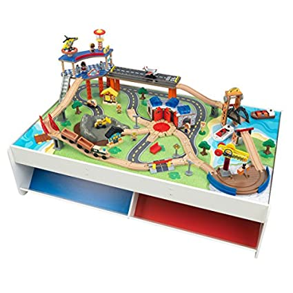 Kidkraft Railway Express Wooden Train Set Table With 79piece Two Storage Bins