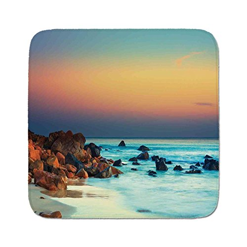 (Cozy Seat Protector Pads Cushion Area Rug,Nature,Colorful Sunset Over Sea Stones on Foreground Caribbean Coast Scenery Picture,Turquoise Orange,Easy to Use on Any Surface)
