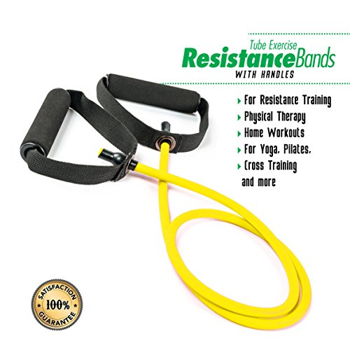 Weights Resistance Band Tube Exercise with Handles By PXT360: Soft Foam Handles For Comfortable Grip, Fitness Strap With Door Anchor, Yellow, For Weight Loss, Strength And Flexibility – DiZiSports Store