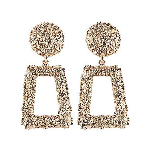 Statement Drop Earrings Metal Crystal Geometric Earrings Square Dangle Earrings Raised Design Earrings Silver/Gold for Women - Earrings Design Square