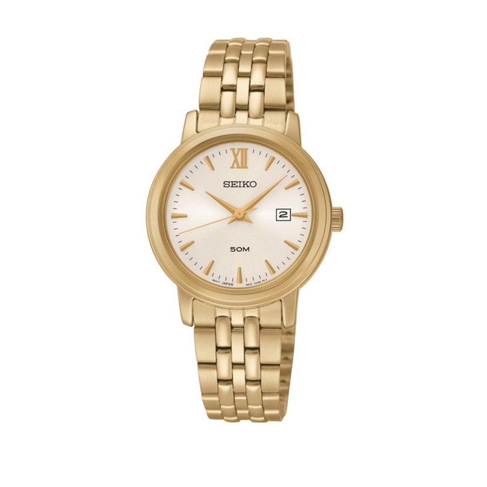 Seiko Three Hand Date Gold Tone SS Silver Dial Women's Watch SUR814