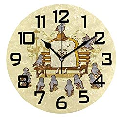 DOPKEEP Cartoon Bread Dove Wall Clock Non-Ticking Oil Painting Quotes Round Acrylic Decorative Indoor Kitchen Clock,Battery Operated Clocks