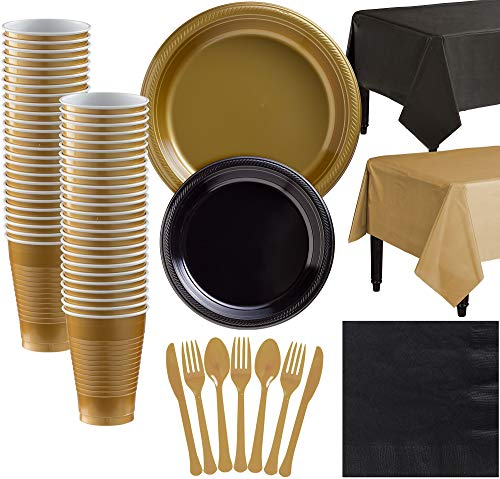 Party City Gold and Black Plastic Tableware Kit for 50 Guests, 487 Pieces, Includes Plates, Napkins, and Table Covers -