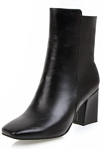 a8da11de8b0 Aisun Women's Simple Dressy Inside Zip Up Square Toe Booties Block Mid  Heels Ankle Boots with Zipper