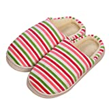 Sunfei Women Men Couple Winter Cotton-padded Shoes Home Floor Soft Stripe Slippers (Women, Hot Pink)