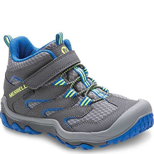 Merrell Kids' Unisex M-Chameleon 7 Access Mid A/C Wtrpf Hiking Shoe, Grey/Blue, 2.5 Medium US Little Kid