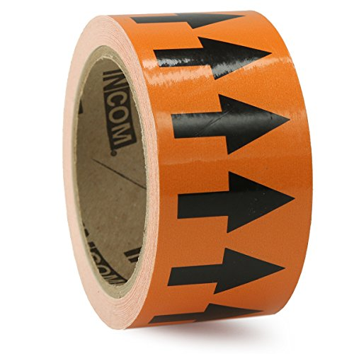 Accuform Signs RAW254BKOR Vinyl Directional Flow Arrow Tape, Black Arrow on Orange, 2'' W x 54' L, Black on Orange by Accuform