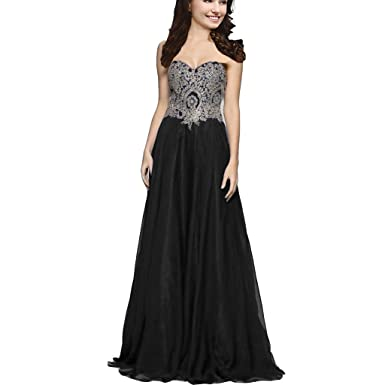 Lemai A Line Chiffon Crystals Gold Lace Long Formal Prom Gowns Evening Dresses Black US 2