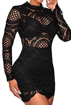 Zkess Women's Long Sleeve Lace High Neck Party Club Mini Dress