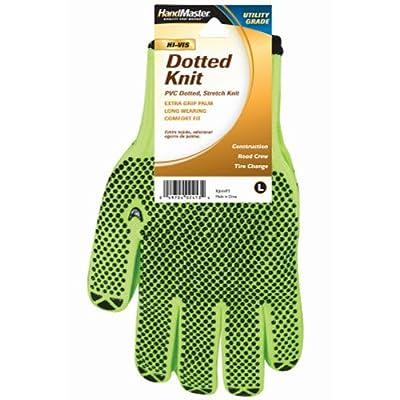 MAGID GLOVE & SAFETY 93HVPT Hi Vis Dot Knit Glove, Large, Lime Yellow