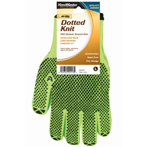 MAGID GLOVE & SAFETY 93HVPT Hi Vis Dot Knit Glove, Large, Lime Yellow