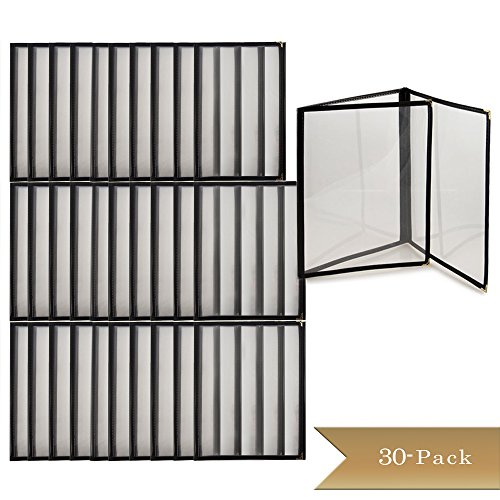 (TrueCraftware Set of 30 - Triple Fold Panels Menu Cover - Black Double Stitched Binding)