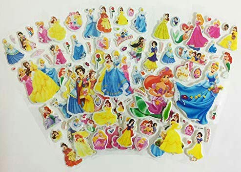 Chaoiwah Snow White Stickers 3D 4 Sheets and one More Free Sheet Sticker Totally 5 Sheets per Pack-Disney Princess Snow White