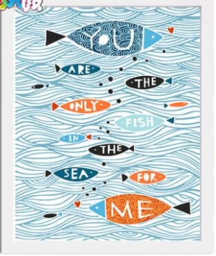 Prime Leader Wooden Framed Diy Oil Painting, Paint By Number Kit Illustration You Are The Only Fish In The Sea For Me 16x20 Inch