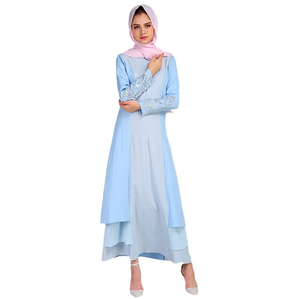KIKOY Women's Muslim Summer Print Trumpet Sleeve Embroidery Elegant Swing Dress Blue