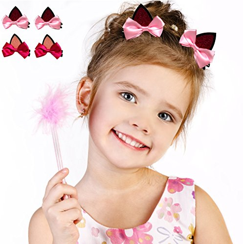 [Syleia Simply Adorable Cat Ears Hair Clips Alligator clips clip-on two sets of two - with pink and rose bows. Halloween, gift idea, party favors, party hair accessory or everyday fun] (Clip On Cat Ears)