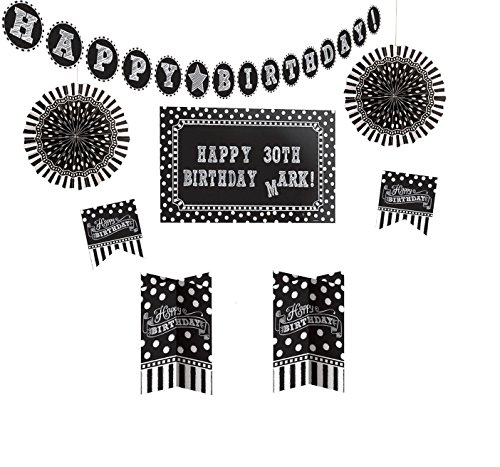 Amscan 241143 Decorating Kit Party Décor, Assorted Sizes, Black/White]()