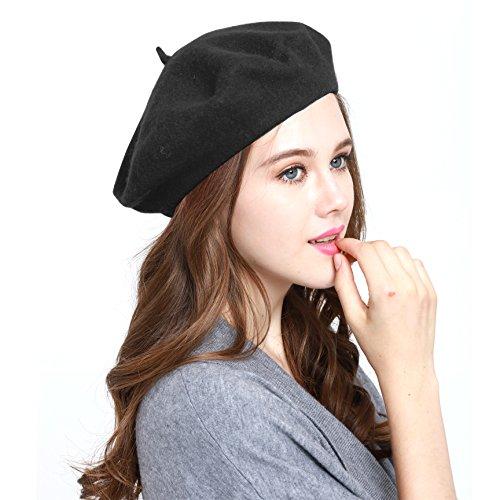 Classic WW004 Winter 100% Wool Warm French Art Basque Beret Tam Beanie Hat Cap (BLACK)