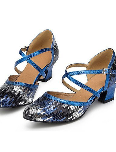 Women's Non Dance Customizable Flocking Shoes Blue Low ShangYi Latin Blue Heel gUa4g