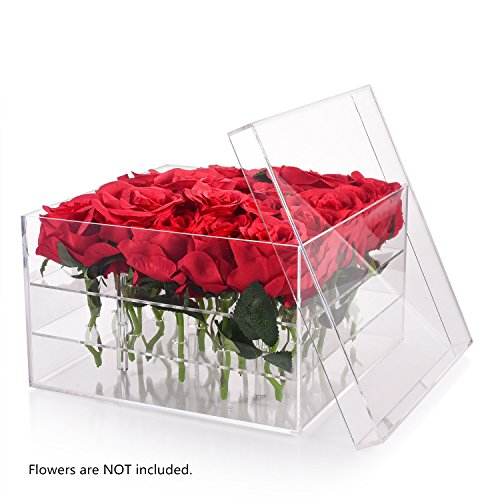Wefond Clear Acrylic Flower Box Water Holder Vase Decorative Square Rose Pot Wedding Flower Gift Box Makeup Organizer (25 Holes)
