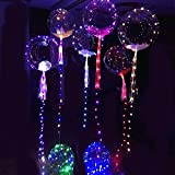 Kubert 5pcs 18-inch Clear Foil Helium Bobo Balloons with Copper LED Light Bar, String Light Creative Balloon for Birthday Wedding Christmas Party Decorative