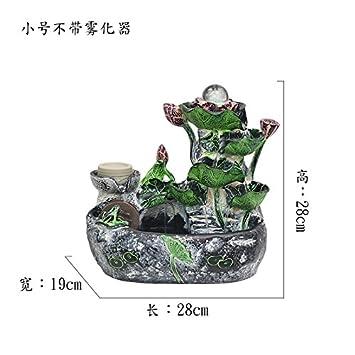 Rocalla agua acuario decoracion oficina Feng Shui suerte Rotary driblar Fountain humidificador sala de estar abriendo regalos,Trompeta no nebulizador: ...