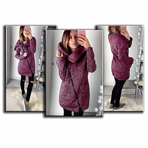 Manteau Pure Shirt Chaud Sweat Hiver Wolfleague Rouge Long VES Femme Longue de Glissire Couleur Manteau a1dqxw4x
