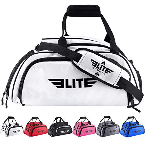 Boxing gym duffle Bag For MMA, BJJ, Jiu Jitsu gear, Elite Sports duffel athletic gym backpack with shoes compartment (White, Large)
